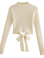 cheap -Women's Open Back Knitted Solid Color Pullover Long Sleeve Sweater Cardigans Turtleneck Fall Spring White