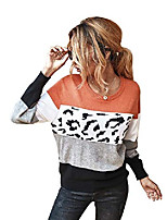 cheap -hika women casual leopard sweaters color block patchwork knitted pullover tops long sleeve jumper (orange,l)