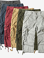 """cheap -Men's Hiking Shorts Hiking Cargo Shorts Military Solid Color Summer Outdoor 12"""" Loose Multi-Pockets Quick Dry Breathable Comfortable Cotton Shorts Bottoms Dark Grey Army Green Burgundy Light Grey"""