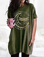 cheap -Women's T shirt Dress Graphic Round Neck Tops Basic Basic Top Black Wine Army Green