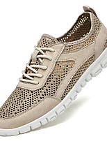 cheap -Men's Sneakers Sporty Casual Daily Outdoor Running Shoes Walking Shoes Nappa Leather Cowhide Breathable Handmade Non-slipping Booties / Ankle Boots Khaki Gray Spring Summer