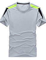 cheap -Men's T shirt Hiking Tee shirt Short Sleeve Crew Neck Tee Tshirt Top Outdoor Quick Dry Lightweight Breathable Sweat wicking Autumn / Fall Spring Summer ArmyGreen Color blue White Hunting Fishing