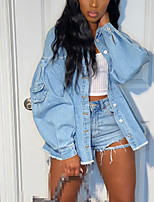 cheap -european and american cross-border foreign trade supply loose waist mid-length women's denim jacket