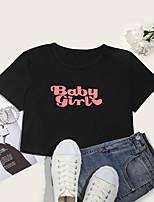 preiswerte -Damen Crop T-Shirt Grafik Buchstabe Druck Rundhalsausschnitt Oberteile Baumwolle Grundlegend Basic Top Weiß Schwarz / Ernte