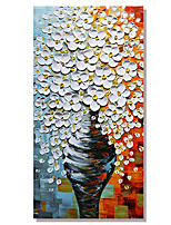 cheap -Handmade Hand Painted Vertical Abstract Floral / Botanical Contemporary Modern Rolled Canvas (No Frame)