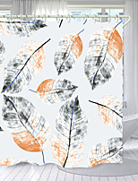 cheap -Light Black Leaves Digital Printing Shower Curtain Shower Curtains Hooks Modern Polyester New Design