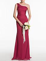 cheap -Sheath / Column Beautiful Back Sexy Wedding Guest Formal Evening Dress One Shoulder Sleeveless Sweep / Brush Train Tulle with Sleek 2021