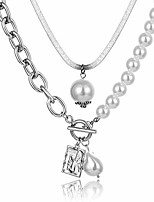 cheap -ifkm gold silver layered pearls angel pendants chains necklaces for women,14 gold plated snake chain choler necklace cute charm jewelry gift for girls (silver-plated)