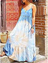 cheap -european and american cross-border foreign trade women's tie-dye sling women's plus size dress