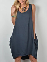 cheap -Women's A Line Dress Knee Length Dress Blue Wine Army Green Sleeveless Solid Color Summer Round Neck Casual 2021 S M L XL XXL 3XL
