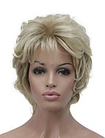 cheap -Blonde Short Soft Shaggy Layered Cute Wavy Short Synthetic Women's daily full Wig