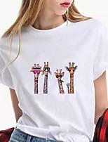 cheap -Women's T shirt Giraffe Cow Animal Print Round Neck Tops 100% Cotton Basic Basic Top White Purple Khaki