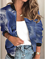 cheap -Women's Print Patchwork Streetwear Spring &  Fall Jacket Regular Sports Long Sleeve Rayon Coat Tops Blue