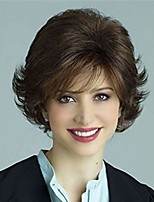 cheap -beweig womens short fluffy brown wig curly wavy synthetic cosplay wig heat resistant hair full wigs with bangs