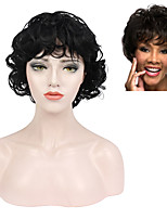 cheap -Synthetic Wig Curly Wavy Short Bob With Bangs Wig Black Synthetic Hair Women's Adjustable Classic African American Wig Black
