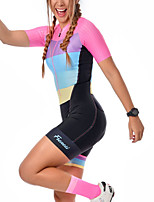 cheap -Women's Men's Short Sleeve Triathlon Tri Suit Summer Pink Patchwork Bike Quick Dry Breathable Sports Patchwork Mountain Bike MTB Road Bike Cycling Clothing Apparel / Stretchy / Athletic