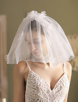 cheap -Two-tier Cute Wedding Veil Shoulder Veils with Faux Pearl Tulle