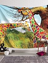 cheap -Wall Tapestry Art Decor Blanket Curtain Hanging Home Bedroom Living Room Decoration Polyester Rainbow Colored Giraffe Eating Grass