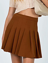 cheap -Women's Date Birthday Party Streetwear Preppy Skirts Solid Colored Pleated Black Brown Gray