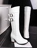 cheap -Women's Boots Chunky Heel Round Toe Knee High Boots PU Solid Colored White Black