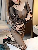 cheap -Women's Mesh Plus Size Sexy Lingerie Nightwear Jacquard Solid Colored Sexy Lingerie Set Black S M L