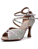 cheap -2021 Women's  Faux Pearl Crystal / Rhinestone Latin Shoes Salas Shoes Ballroom Shoes High Heel Open Toe White Black Khaki Buckle Glitter Crystal Sequined Jeweled / Satin