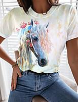 cheap -Women's Painting T shirt Graphic Animal Print Round Neck Basic Tops White