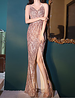 cheap -A-Line Sparkle Sexy Wedding Guest Formal Evening Dress Spaghetti Strap Sleeveless Floor Length Sequined with Sequin Split 2021