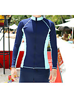 cheap -Men's Rashguard Swimsuit Spandex Swimwear UV Sun Protection Quick Dry Long Sleeve 2 Piece Front Zip - Swimming Surfing Snorkeling Patchwork Autumn / Fall Spring Summer