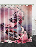 cheap -Scary Little Witch Print Waterproof Fabric Shower Curtain for Bathroom Home Decor Covered Bathtub Curtains Liner Includes with Hooks