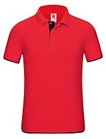 cheap -Men's T shirt Hiking Tee shirt Hiking Polo Shirt Short Sleeve Tee Tshirt Top Outdoor Quick Dry Lightweight Breathable Sweat wicking Autumn / Fall Spring Summer Navy orange Black red collar Hunting