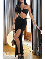 cheap -Women's Two Piece Dress Maxi long Dress White Black Blushing Pink Sleeveless Solid Color Split Summer Strapless Sexy 2021 S M L XL