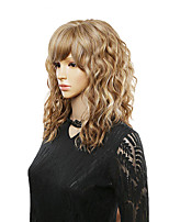 cheap -Curly Synthetic Wigs With Free Side Bangs Medium Length Heat Resistant Fiber Cosplay Wig For Africa American women