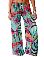 cheap -Women's Basic Soft Comfort Daily Home Chinos Pants Flower / Floral Graphic Prints Full Length Elastic Drawstring Design Print Red Green