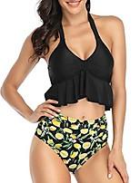 cheap -Women's Bikini 2 Piece Swimsuit High Waist Ruffle Push Up Leaf Black + Leopard Red + Zebra Yellow + dot White Black Swimwear Bathing Suits Sexy Sweet