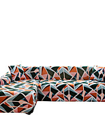 cheap -Colorful Triangle Print Dustproof All-powerful Slipcovers Stretch L Shape Sofa Cover Super Soft Fabric Couch Cover Sofa Furniture Protector With One Free Boster Case