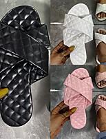 cheap -Women's Slippers & Flip-Flops Flat Heel Open Toe PU Solid Colored White Black Pink