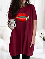 cheap -Women's T shirt Dress Graphic Mouth Round Neck Tops Basic Basic Top Black Wine Army Green