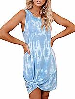 cheap -lexupa women's plus size dress gradient dress tie-dye sleeveless loungewear swing loose comfy casual tank dress blue