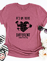 cheap -Women's T shirt Graphic Heart Letter Print Round Neck Tops Basic Basic Top Blue Blushing Pink Wine