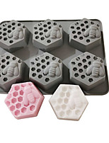 cheap -Honeycomb Mold 6 Bees Diamond Honeycomb Handmade Soap Silicone Mold Diy Silicone Soap Mold Hexagonal Square Honeycomb Mold