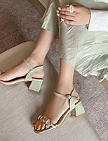 cheap -Women's Sandals Block Heel Open Toe Microfiber Buckle Sequin Color Block Green Beige