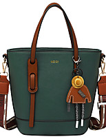 cheap -Women's Bags PU Leather Satchel Crossbody Bag Zipper Solid Color Daily Going out 2021 Handbags Wine Black Dark Green