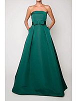cheap -A-Line Beautiful Back Vintage Engagement Formal Evening Dress Strapless Sleeveless Floor Length Satin with Sleek Bow(s) 2021