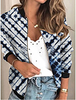 cheap -Women's Jackets Print Print Sporty Fall Jacket Regular Daily Long Sleeve Air Layer Fabric Coat Tops Blue