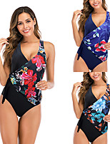 cheap -Women's One Piece Swimsuit Nylon Swimwear Bodysuit Quick Dry Breathable Sleeveless Swimming Surfing Water Sports Floral / Botanical Summer