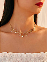 cheap -Women's Choker Necklace Necklace Tassel Elegant Imitation Diamond Alloy Gold 33 cm Necklace Jewelry 1pc For Party Evening Gift Prom Birthday Party