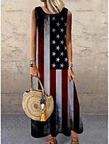 cheap -Women's Shift Dress Maxi long Dress Blue Sleeveless Print Flag Print Spring Summer Round Neck Casual 2021 S M L XL XXL 3XL