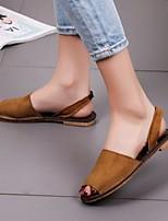 cheap -Women's Slippers & Flip-Flops Flat Heel Open Toe Suede Solid Colored White Black Pink