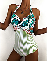cheap -Women's One Piece Swimsuit Nylon Swimwear Bodysuit Breathable Quick Dry Sleeveless Swimming Surfing Water Sports Floral / Botanical Stripes Summer